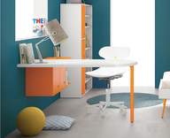 Battistella Rounded Desk and Luce Wall Unit