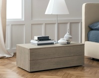 Dall'Agnese Slim Oak low 2 Drawer Bedside Cabinet