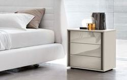 Tomasella Cristal Glass Fronted Bedside Cabinet