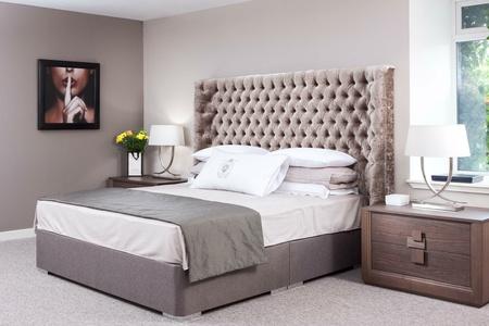 Bespoke Beds Winged Buttoned Headboard Upholstered