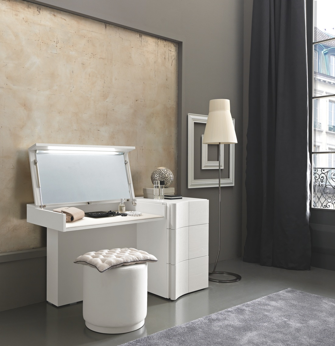 Modern dressing table with mirror - Armonia Dressing Table