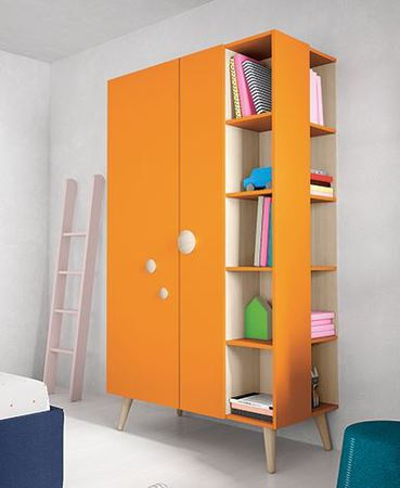 Battistella Woody wardrobe with open shelves