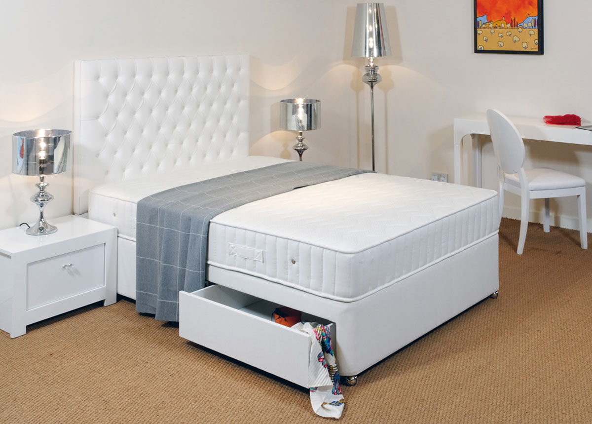 Contour  Coil Sprung Divan Bed with Memory Foam (Medium) 137cm