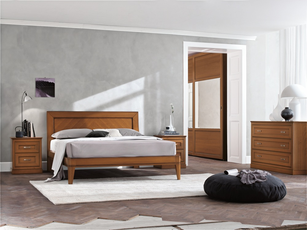 Classic Italian walnut bed  Contemporary low beds UK  Robinsons Beds