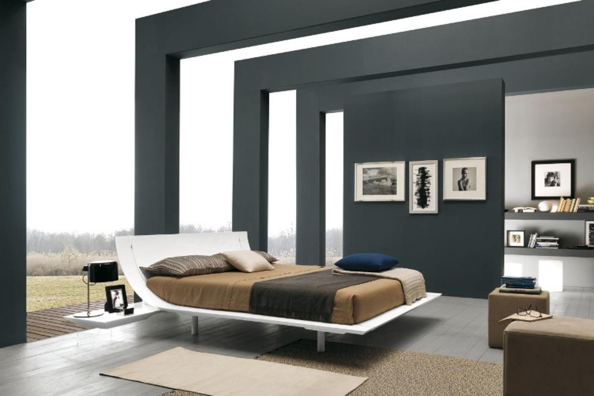 Presotto Aqua White Glossy Lacquer Bed