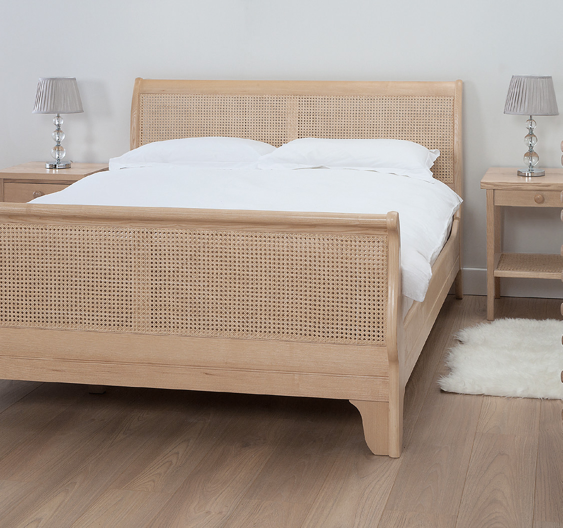 Curved Rattan Cane Sleigh Bed Robinsons Beds