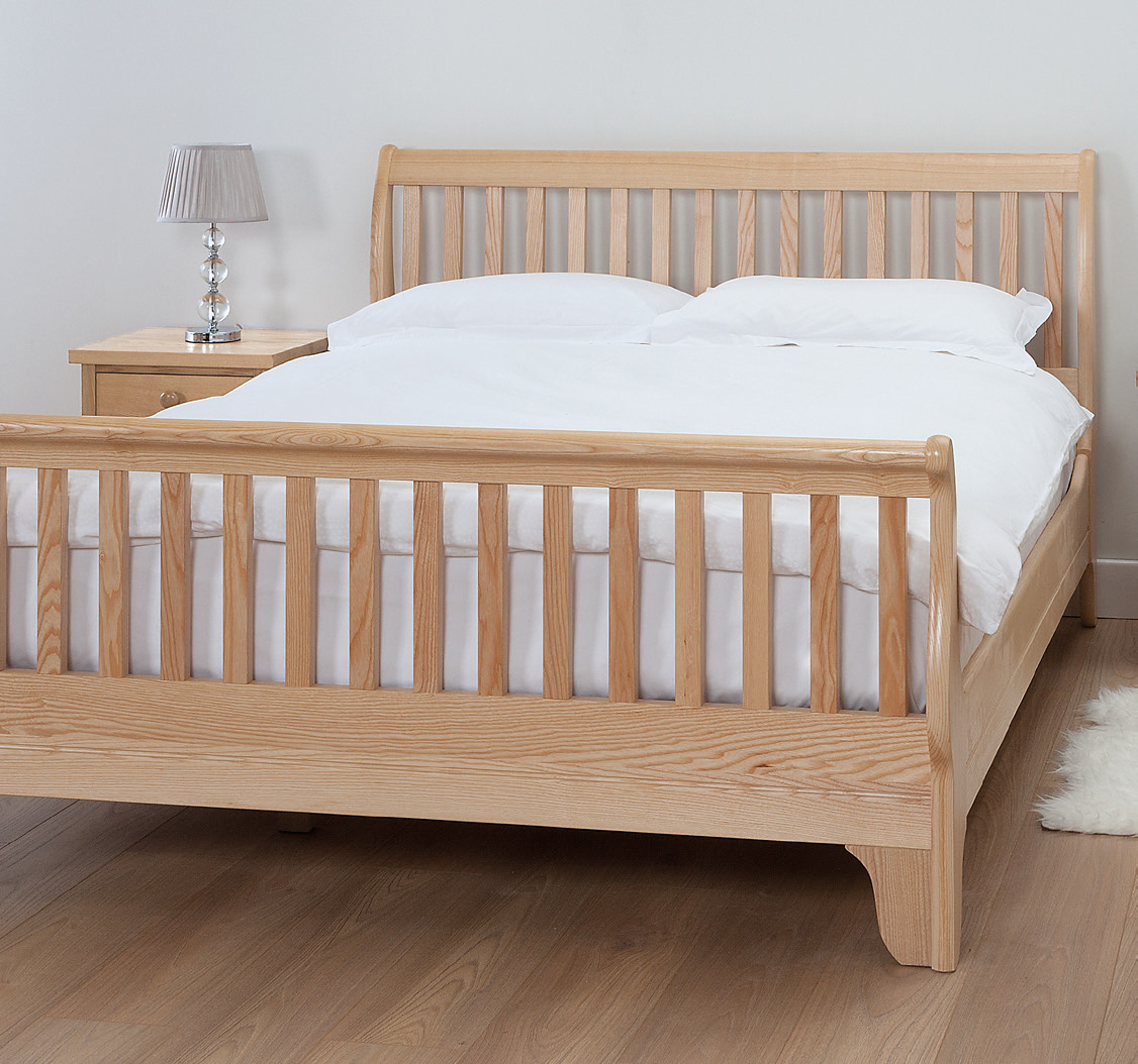 - Modern Slatted Wooden Sleigh Bed Robinsons Beds