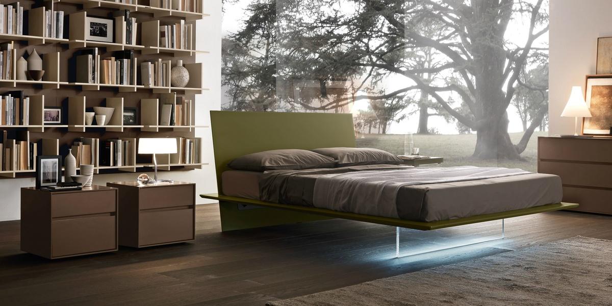 Presotto Plana Floating Bed Modern Red Bed Frames