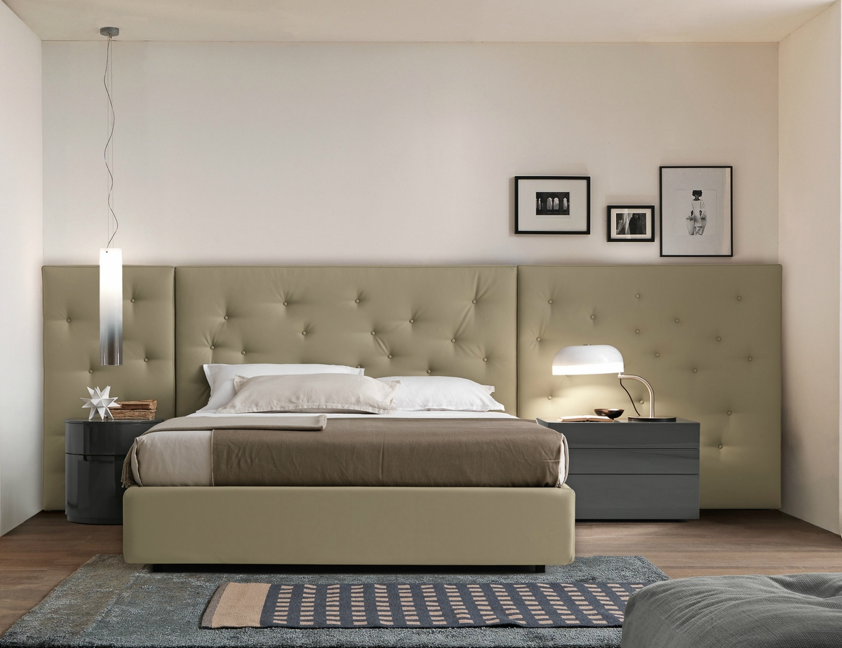 Luxury Presotto Pixel bed with padded wall panel headboard